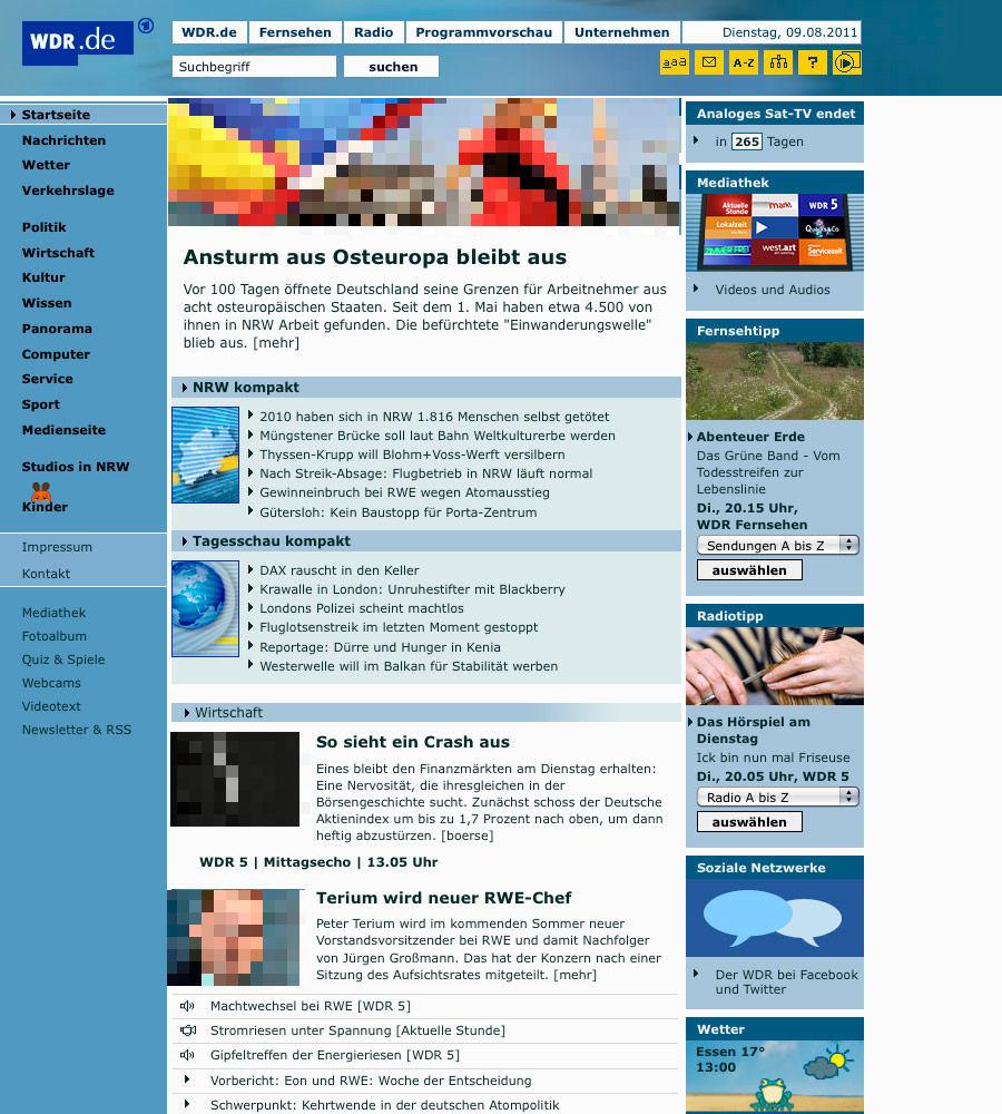 WDR.de bis 08/2011